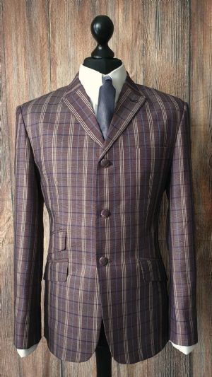"""Lenny"" Heather Brown Blue & Taupe Checked Suit."